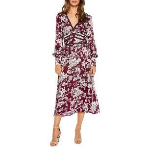 Jolie Print Midi Dress  BARDOT  Floral Wine Long